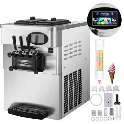 2200w Commercial Soft Ice Cream Machine 3 Flavors 2*6l Ice Cream Maker 220v