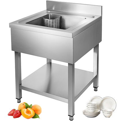 60x60cm Kitchen Sink Stainless Steel Standpipe Valve Freestanding Wash Basin