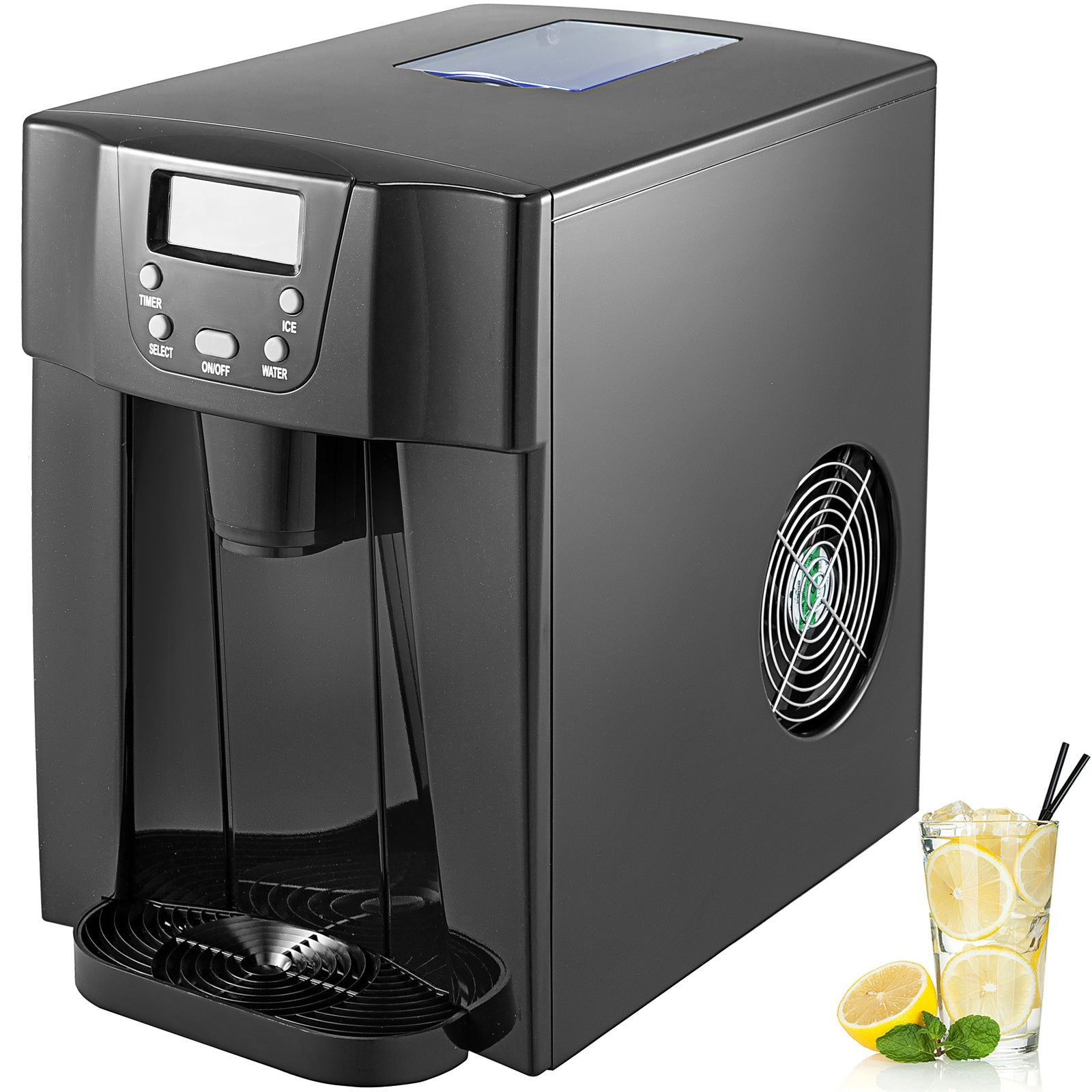 3 In 1 Countertop Ice Maker 12kg/26ibs Black Kitchen Cold Water Dispenser Bar