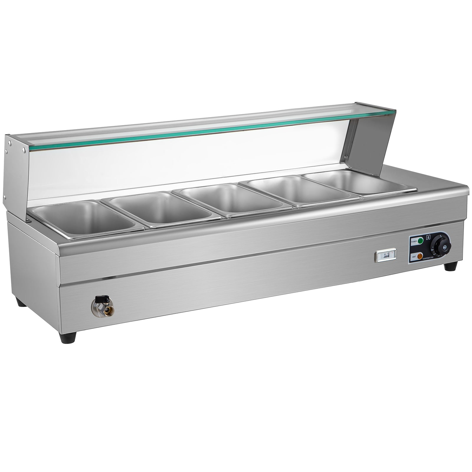 Bain Marie Food Warmer, Commercial Food Steam Table, 5 Pans, With Glass Shield