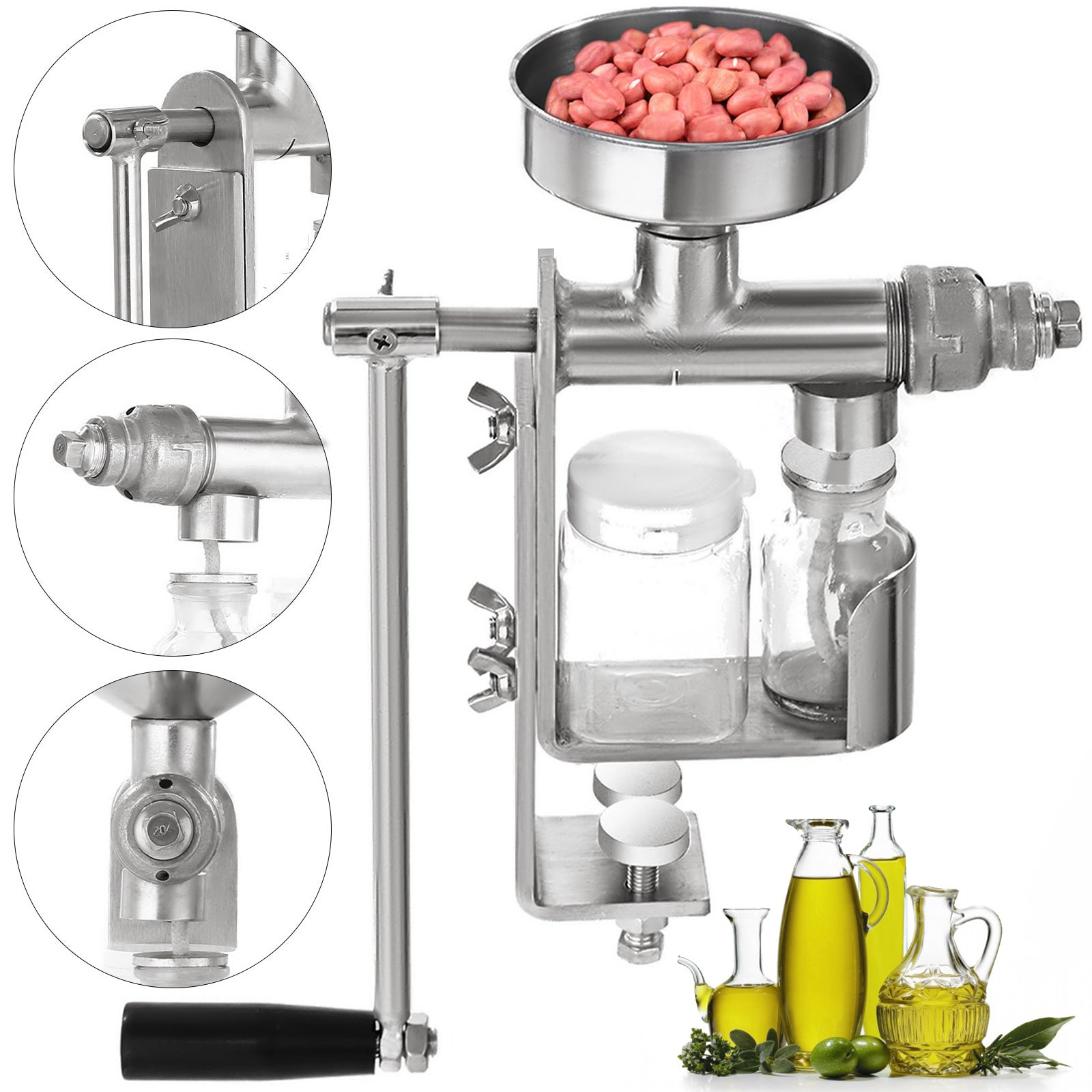 Hand Manual Oil Press Machine Seed Olive Oil Expeller Extractor Stainless Steel
