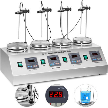 4 Units Head Magnetic Stirrer Hotplate Mixer Efficient Low Noise Stir Bars