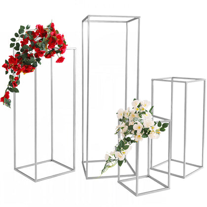 Wedding Flower Vase Floor Vases Column Stand Metal Road Lead 5pcs Silver Decor