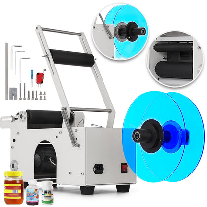 Mt-50 Semi Automatic Round Bottle Labeling Machine Labeler Scrolling Portable