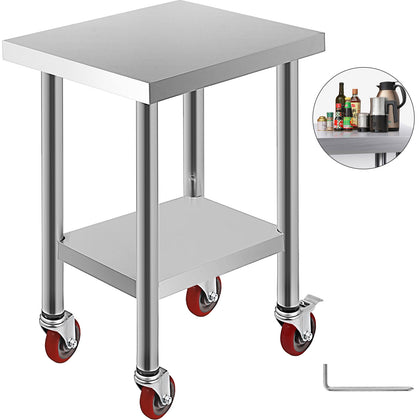 Rolling Stainless Steel Kitchen Work Table Workbench W/ Casters Shelving 61x45cm