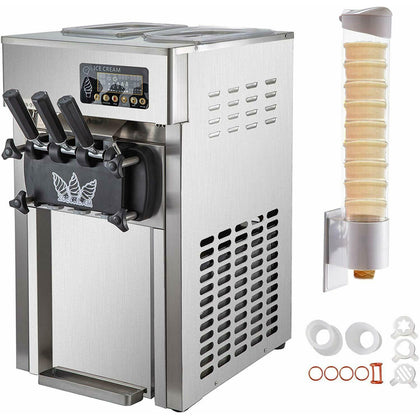 Commercial 3 Flavors Soft Ice Cream Machine 60hz Lcd Panel One-click Cleaning