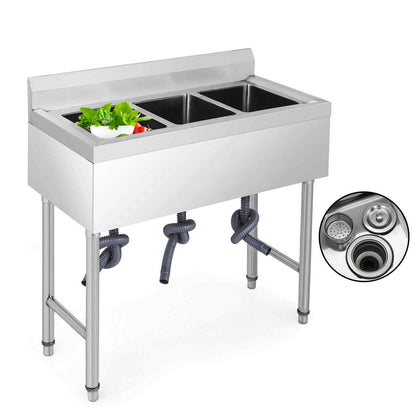 Stainless Steel Commercial Sink 3 Bowl Kitchen Catering Prep Table Wastekit