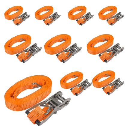 10x Tie Down Straps Ratchet Logistics 8m/26ft Med Luggage Trailer Roof Rack