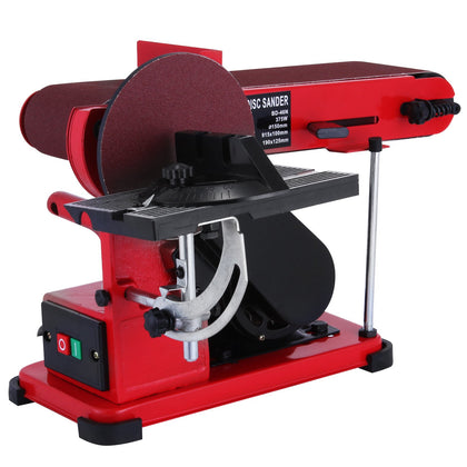 375w Bench Belt And Disc Sander Grinder Metalworking Wood Sanding Benchtop