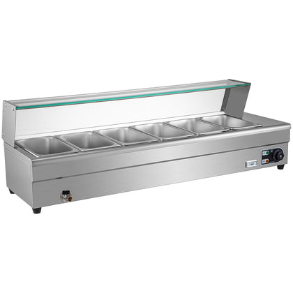 Bain Marie Food Warmer, Commercial Food Steam Table, 6 Pans, With Glass Shield