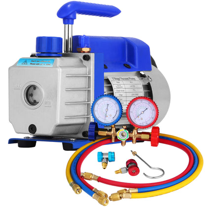 Ac Refrigeration Kit A/c Manifold Gauge Air Vacuum Pump Hvac Combo 1.8cfm ¼ Hp