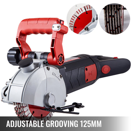 Wall Chaser Concrete Saw Electric Groove Cutting Machine Slotter 125mm Saw Blade