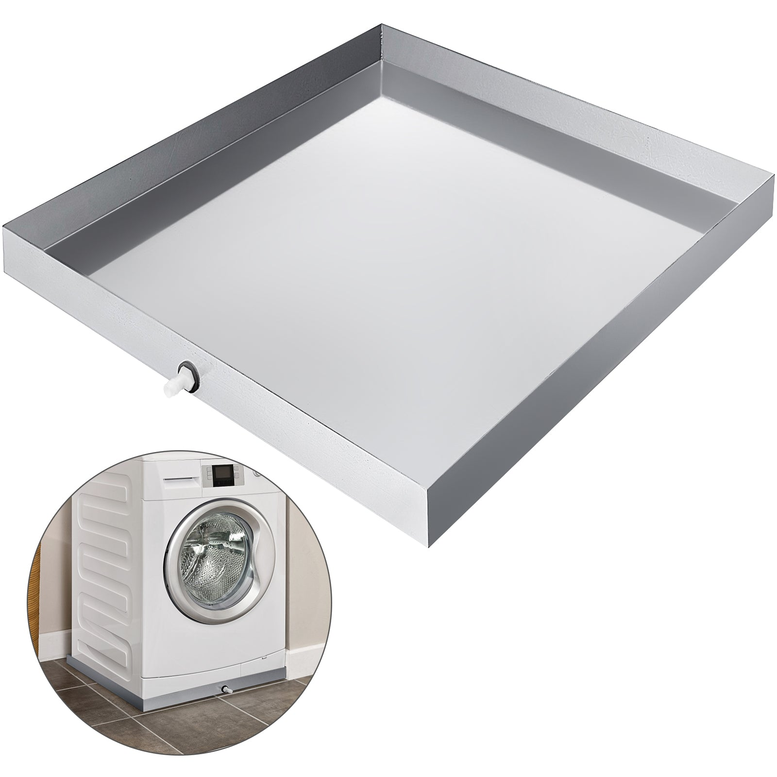 63x68cm Washing Machine Drain Pan Stainless Steel Washer Tray Brushed Finish