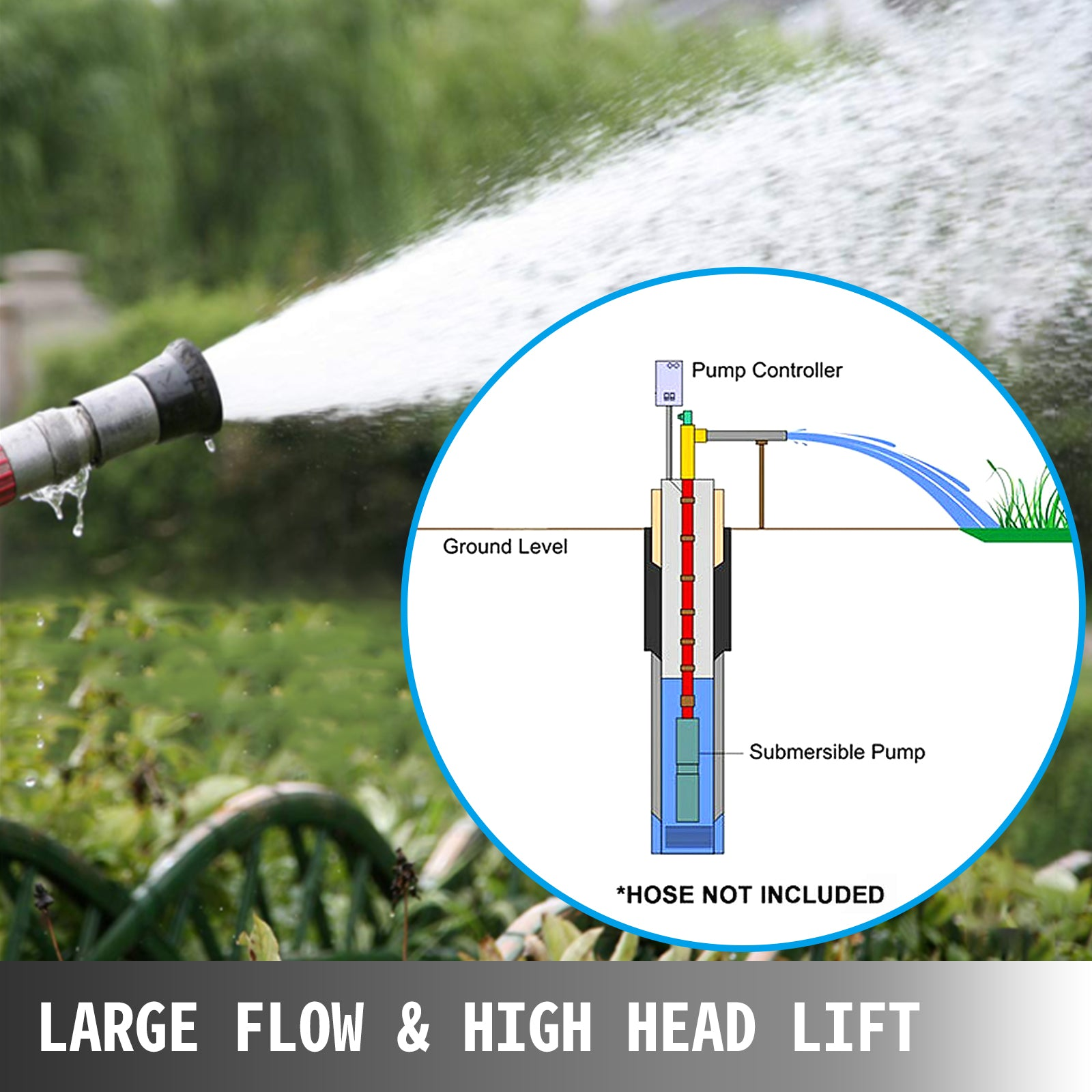 "1hp 4"" Stainless Steel Submersible Deep Well Electric Water Pump 74m Cable"