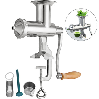 Eco Stainless Steel Wheatgrass Juicer Press Extractor Vegetable Silver Grinder