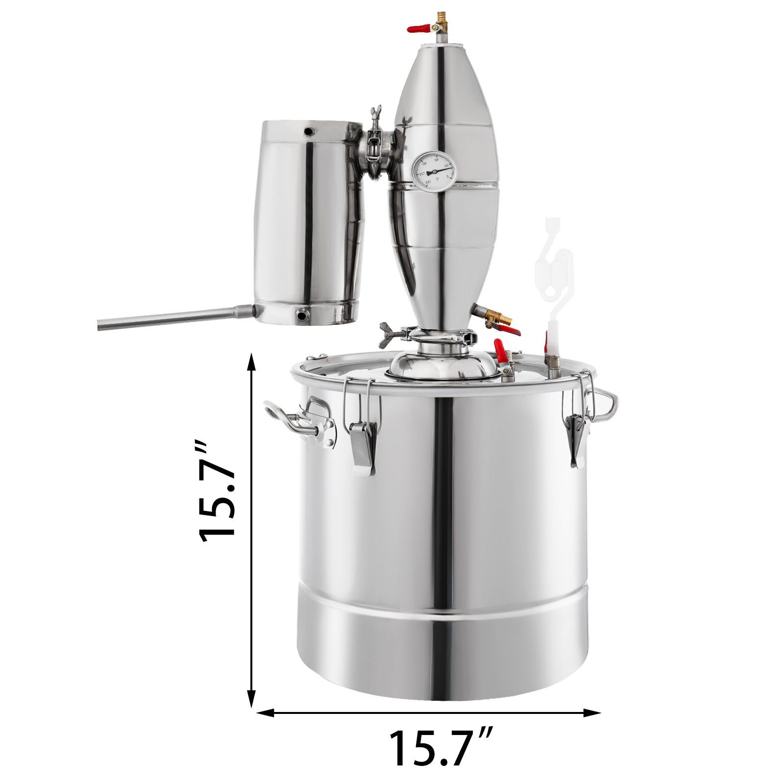 50L 13 Gal Water Wine Alcohol Distiller Moonshine Still Boiler Stainless Copper