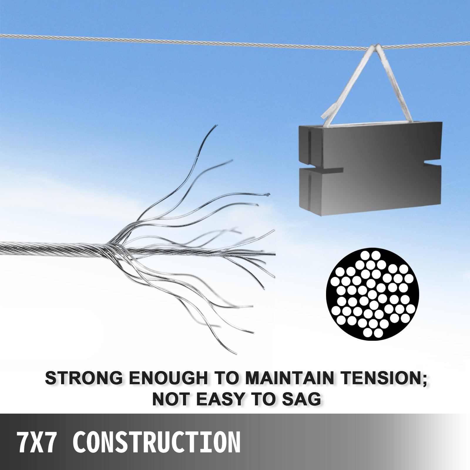 316 7x7 Cable Wire Rope Breaking Strength Stable Maintain Breaking Strength