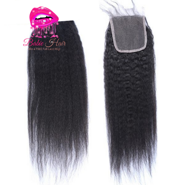Brazilian Kinky Straight Lace Closure - Babie Hair Brazilian Hair Virgin Hair Bundle Hair Virgin Fantasy