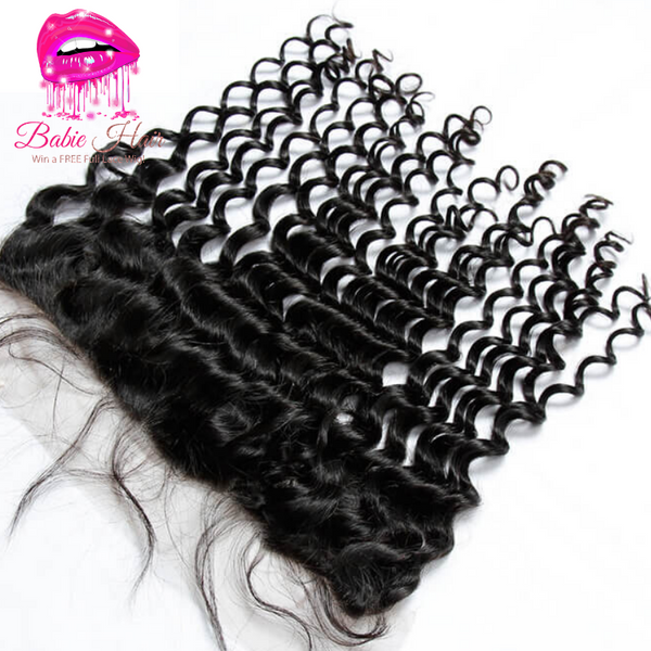 Peruvian Deep Wave Frontal - Babie Hair Brazilian Hair Virgin Hair Bundle Hair Virgin Fantasy