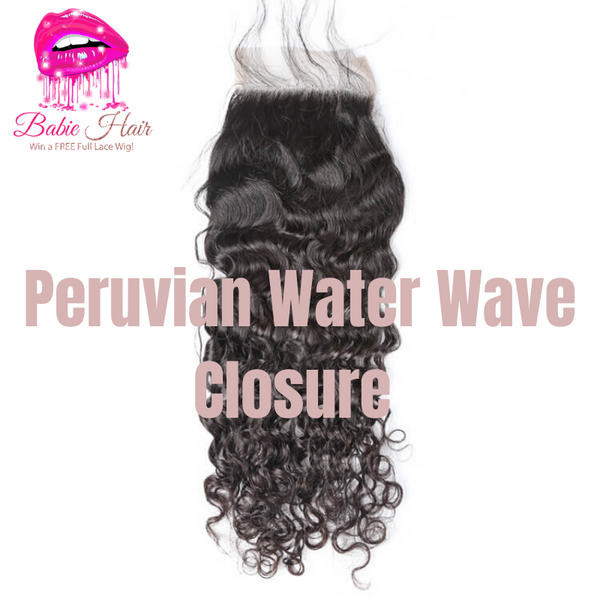 Peruvian Water Wave Closure - Babie Hair Brazilian Hair Virgin Hair Bundle Hair Virgin Fantasy