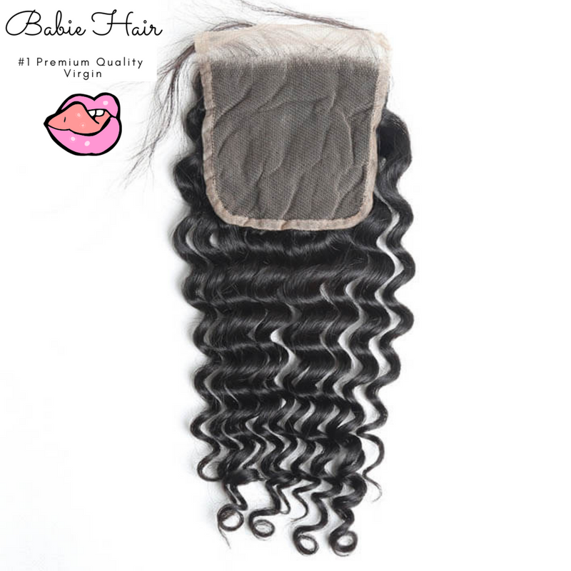 Peruvian Deep Wave Lace Closure - Babie Hair Brazilian Hair Virgin Hair Bundle Hair Virgin Fantasy