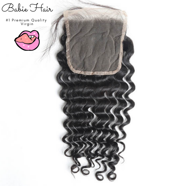 Brazilian Deep Wave Lace Closure - Babie Hair Brazilian Hair Virgin Hair Bundle Hair Virgin Fantasy