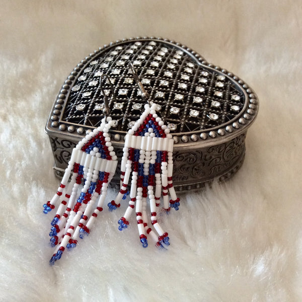 Patriotic Indian Bead Earrings