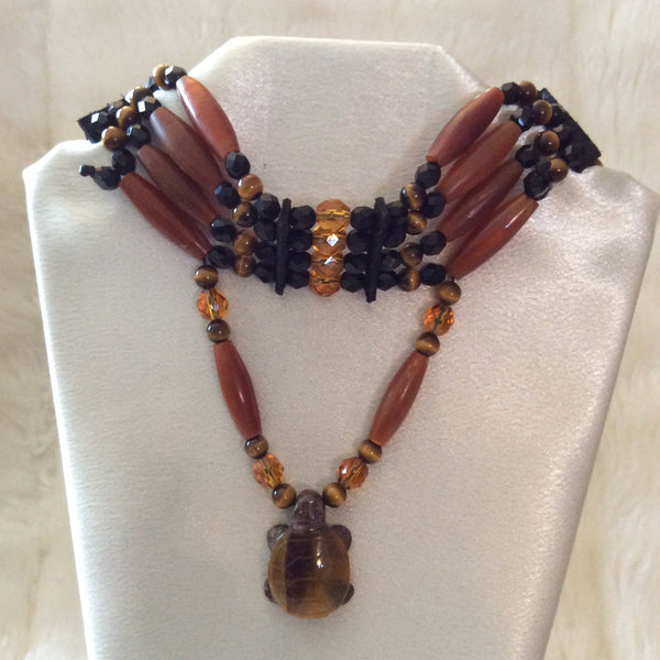 Golden Horn, Tiger Eye Turtle Choker