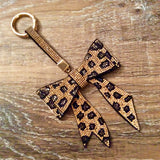 Gold Leopard Bow Purse Charm / Keychain