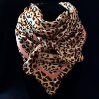Silk Leopard Scarf Coral and Brown