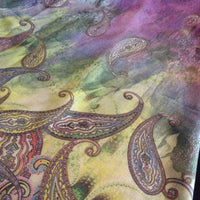 Purple & Green Paisley Watercolor Scarf