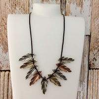 Tricolor Feather Bib Necklace