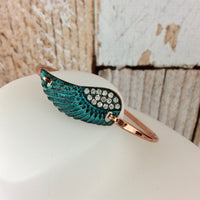 Patina Angel Wing Hook Clasp Bangle Bracelet