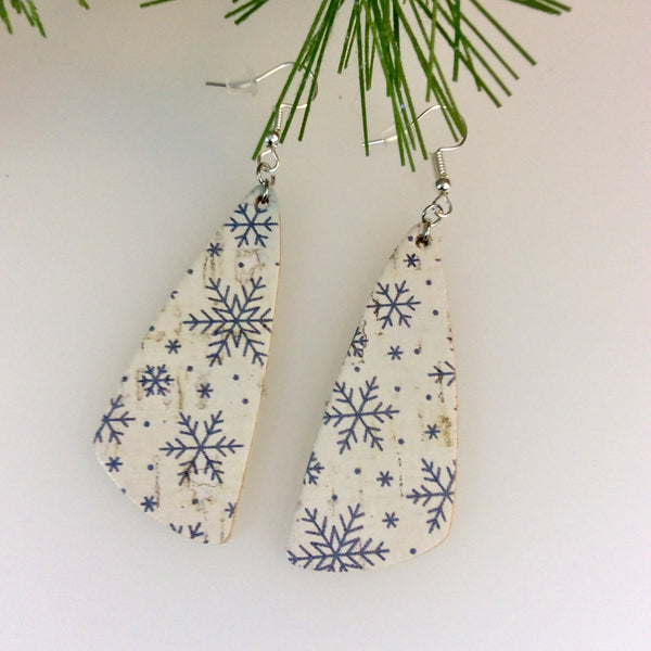 Cork Leather Snowflake Earrings