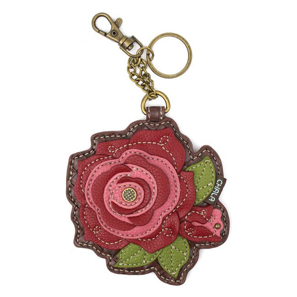 Red Rose Coin Purse, Bag Charm, Key Fob