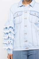 Ruffle Sleeve Denim Jacket