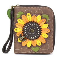 Brown Sunflower Zip-Around Wallet