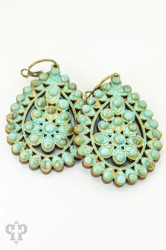 Large Turquoise Crackle Santa Fe Teardrop Earrings