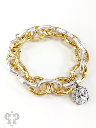 Large Link Two-Tone Stretch Bracelet