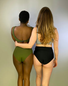 reversible black to green high waisted bottoms