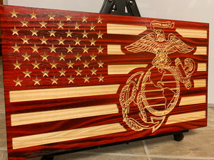 USMC one-piece carved flag