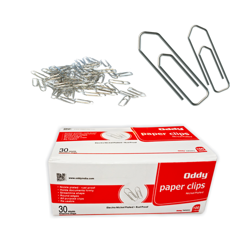 Paper Clips Streamlined Nickel Plated Rust Proof