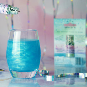 unicorn shimmer mermaid blue powder for gin, prosecco and lemonade