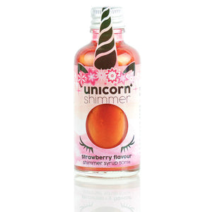 Strawberry flavour unicorn shimmer syrup