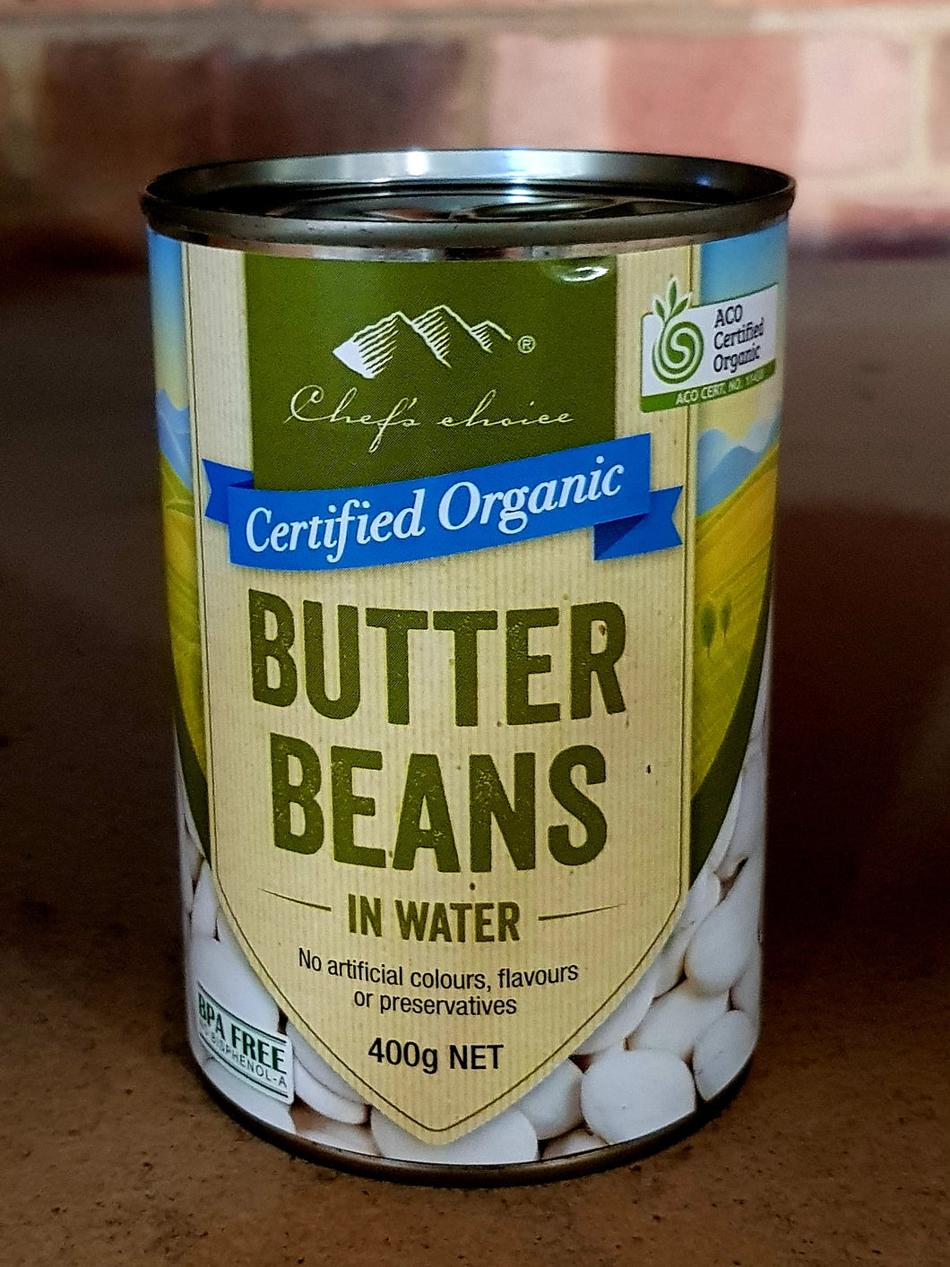 12x400gm ORGANIC BUTTER Beans in water