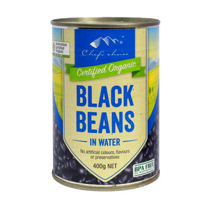 3x400gm organic black beans in water