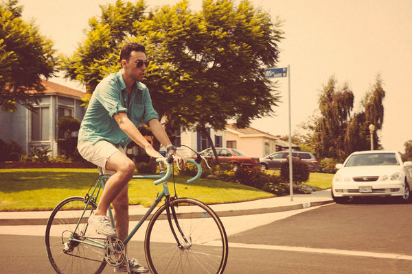 Biking in Vintage Ivory Shorts Pictures