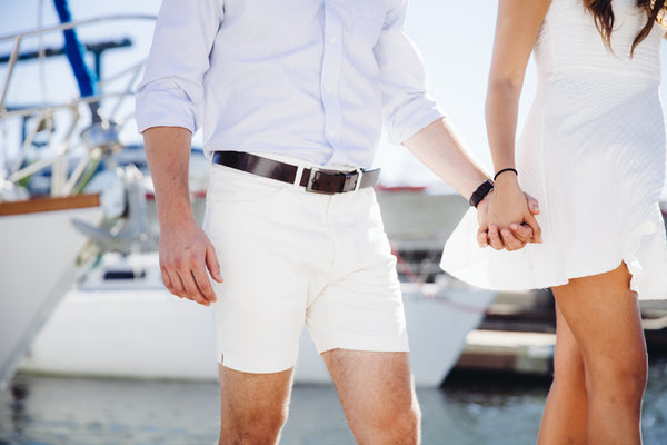 Mens short shots pictures, vintage white trunks at a yacht