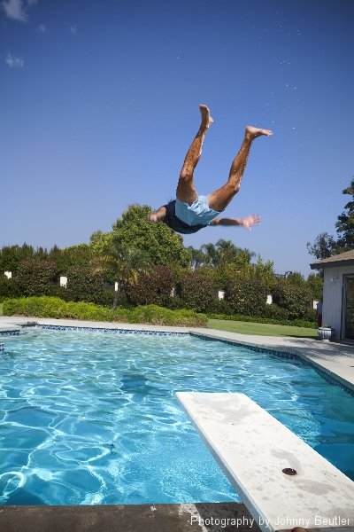 Pictures Jumping into the Pool with Retro Trunks for Men Pictures