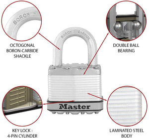 Master Lock - High Security Padlock  with Key - 50mm Wide Body